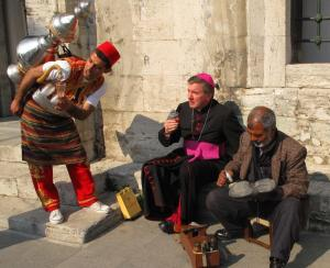 Bishop Prowse having his sole heeled on the streets of Istanbul
