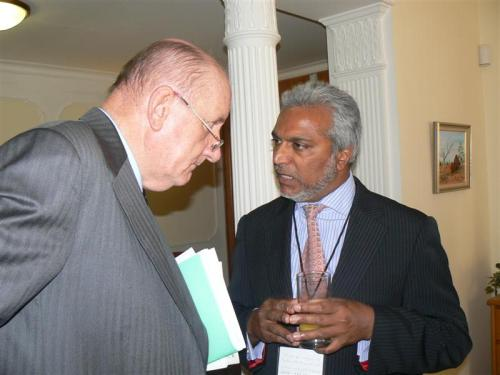 The Hon. Mr Tim Fischer with Mr Ikebal Patel, president of the Australian Federation of Islamic Councils, at our Reception on Thursday April 23rd 2009